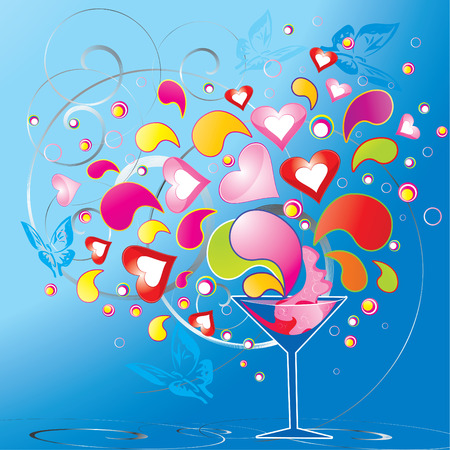 rainbow cocktail: funky love splash cocktail, vector illustration