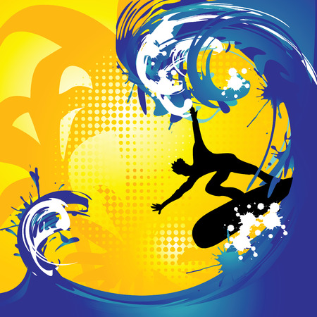 surfing wave: tropical surfing background, Hand drawn vector illustration
