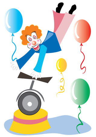 unicycle: clown on unicycle holding balloon, vector illustration