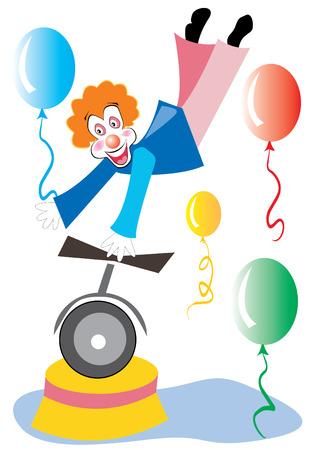 zapatos caricatura: payaso en monociclo celebraci�n globo, ilustraci�n vectorial