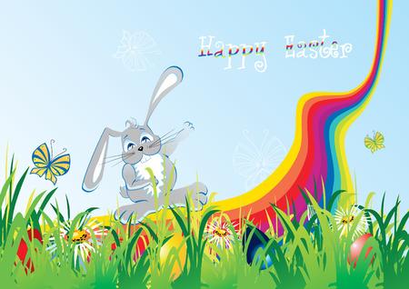 cartoon easter foliage with cute bunny, vector illustration Vector