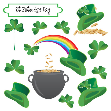 goodluck: Saint Patricks holiday objects, vector illustration