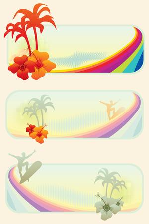 palmtrees: conjunto de tres grungy verano web pancartas, ilustraci�n vectorial
