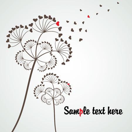sujeto: diente de le�n estilizada tema de amor con copia espacio, el vector