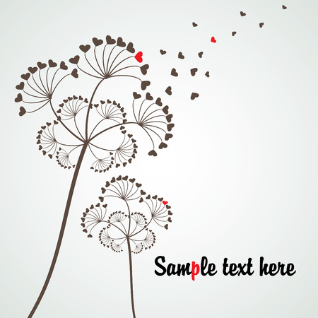 stylized dandelion for love subject with copy space, vector Illustration