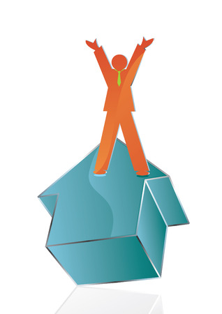 conceptual Business icon of man reaching his goal, vector Vector