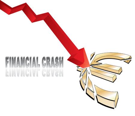 euro teken: financiële crash met rode pijl diagram smashing euro teken vector