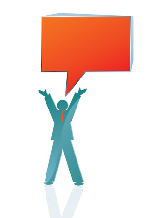 masses: conceptual Business icon of man speaking to the masses, vector