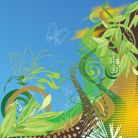 Abstract vector floral background with butterflies Vector