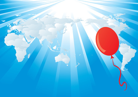 vector world map background with rays and balloon Stock Vector - 4500038