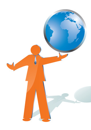 online internet presence: business man playing with world globe, vector illustration Illustration