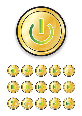 media buttons in gold and green, vector illustration Vector
