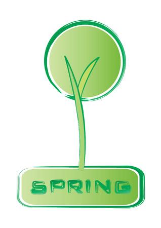 spring retro tree, vector illustration Vector