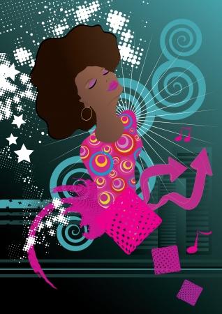 gospel: Soul singer music background vector illustration