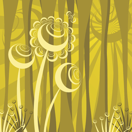 abstract forest scene, retro vector illustration Vector