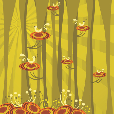 abstract forest scene, retro vector illustration Stock Vector - 4648181