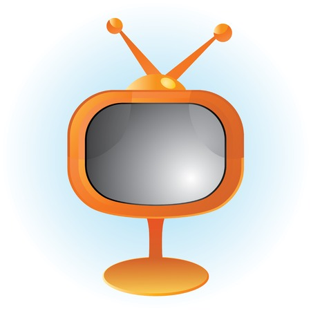 Orange retro television with reflections Vector