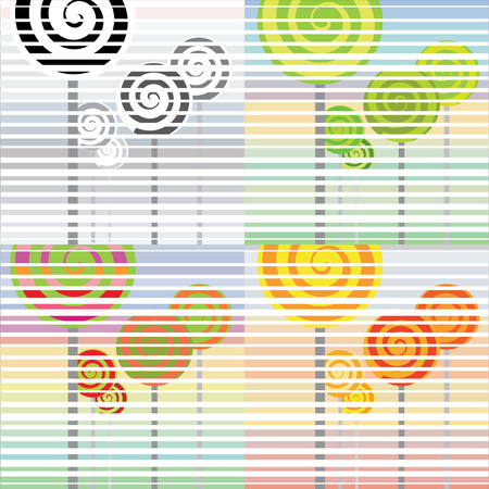 Four seasons abstract in retro lollipop style Stock Vector - 4756548