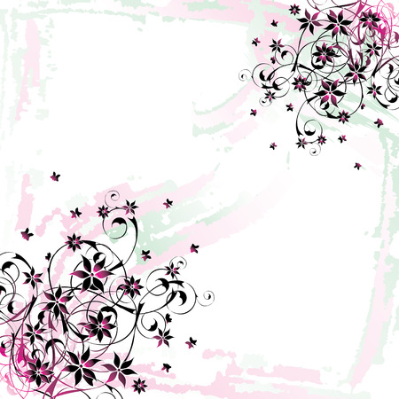 scroll border: grunge floral background with watercolor effect