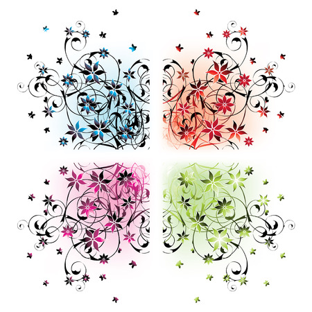 four floral corners in different colors Stock Vector - 4756566