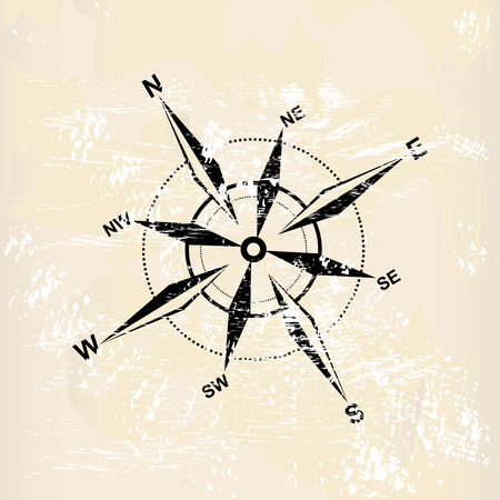 magnetic north: distressed compass rose on grunge background Illustration