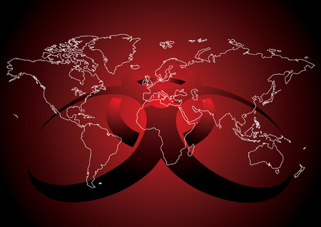 Editable vector illustration of World map with virus sign in red color Stock Vector - 4774658