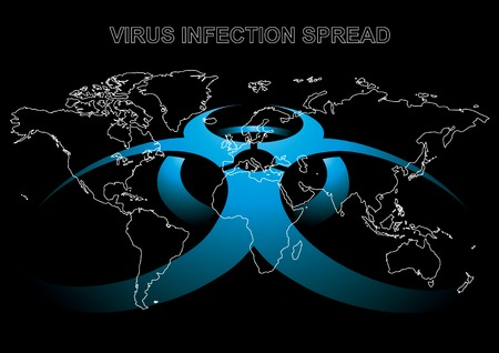 Editable vector illustration of World map with virus sign in blue color Vector
