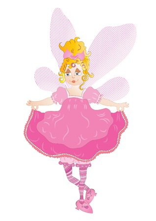 Pretty fairy in pink dress Vector