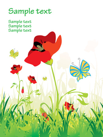 poppy leaf: Poppy field with butterflies Illustration