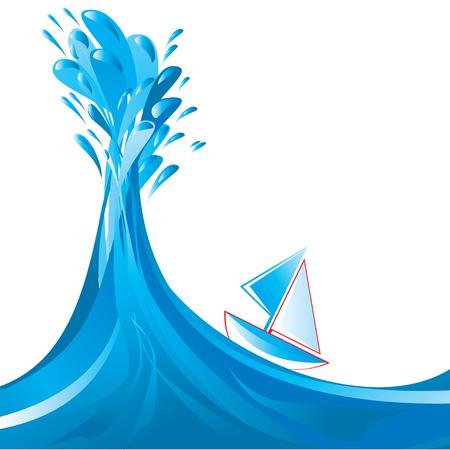 splashy:  Sailing ship and big splashy wave Illustration
