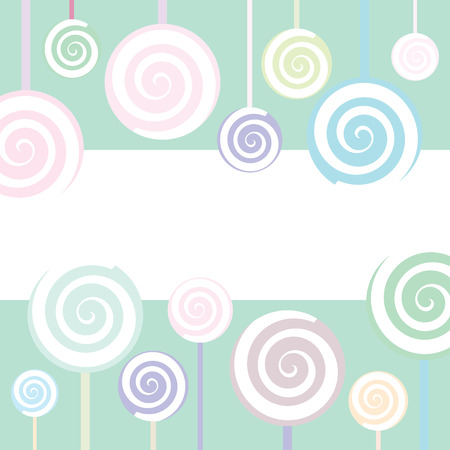 colourful candy: Trendy Lollipop Background in pastel colors Illustration