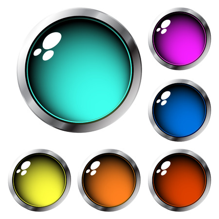 Collection of glossy buttons in different colors