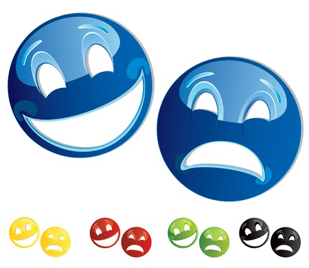 Set of smilies comedy-tragedy masks  Vector