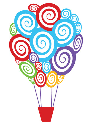 helium: vector colorful swirly hot air balloon