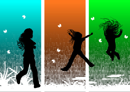 Young girls having fun in nature Vector
