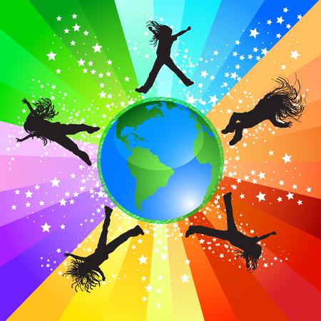Feliz niñas saltando todo el mundo