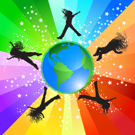 Happy girls jumping around the world Vector