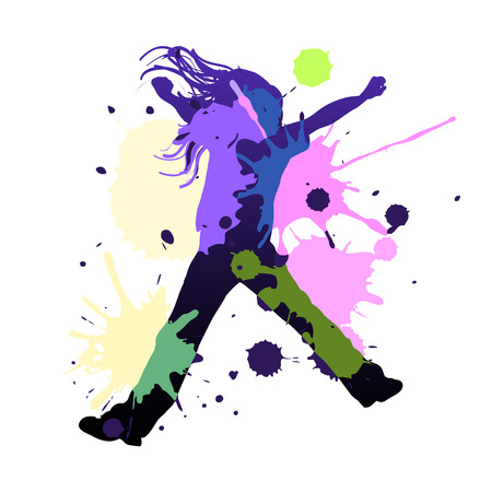 Happy young girl dancing in splash colors