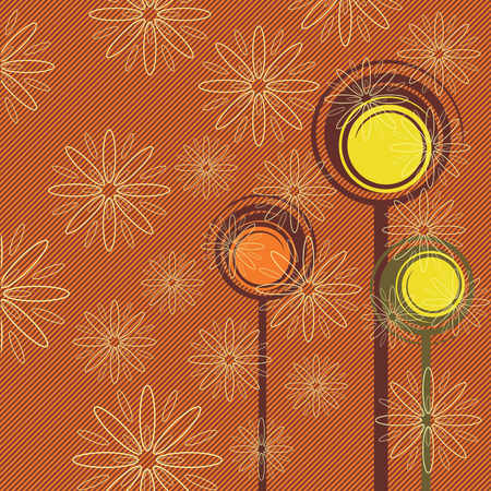 Abstract forest with retro trees and flowers Illustration