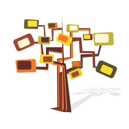Artistic retro tree in trendy colors Illustration