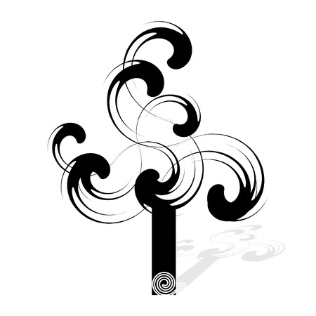 leafage: Spiral tree, black and white - vector illustration