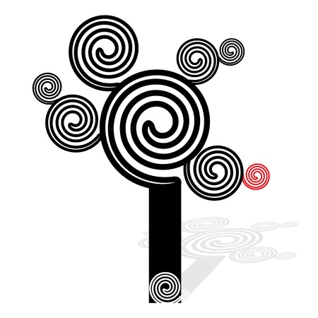 leafage: Spiral coil tree, black and white - vector