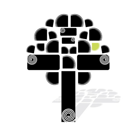 leafage: Artistic tree, black and white - vector illustration Illustration