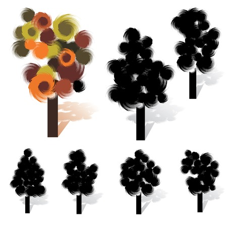 Brush stroke like artistic tree collection, vector Vector