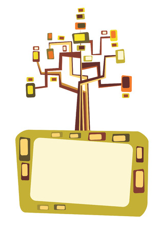 Retro tree with space for text, vector Stock Vector - 4863900