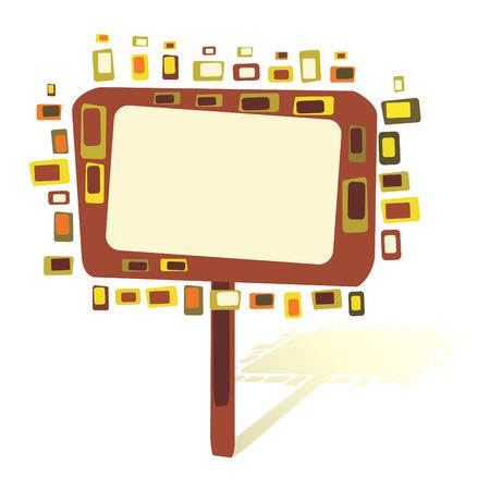 Blank tablet on a retro tree, vector