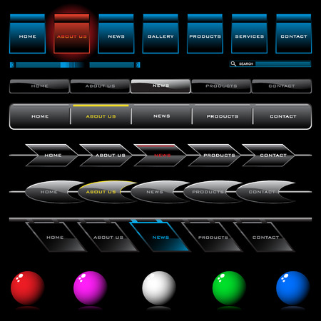 Set of shiny web navigation button templates Illustration