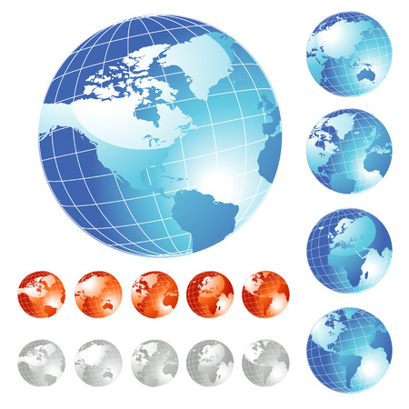 Big set of shiny Globe in five different views Stock Vector - 4897844