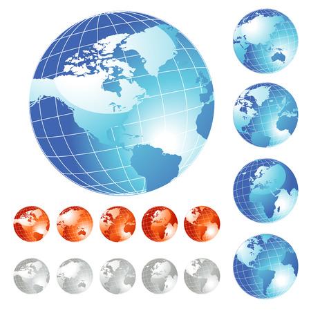 big five: Big set of shiny Globe in five different views