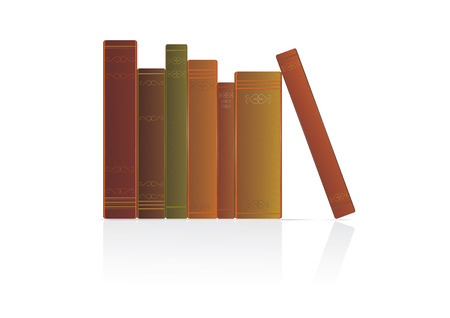 Collection of books on white background, vector
